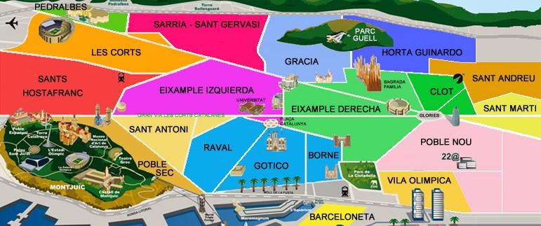 barrios barcelona donde vivir Barrios de Barcelona – donde alojarse barrios barcelona 771x323